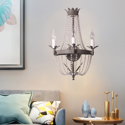 Candle Living Room Sconce Light Traditional Style Wood 3 Lights Grey Wall Mounted Lighting with Crystal Accent