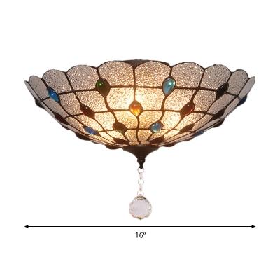 Clear Bubble Glass Flush Mount Ceiling Light Beaded 2/3/4 Lights 12