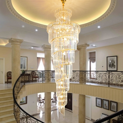 Clear Crystal Block Swirl Hanging Light Fixture Traditional 12 Heads Stairway Chandelier Light