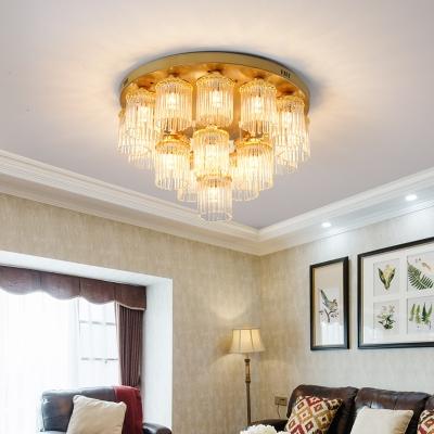 Contemporary Cylinder Flush Mount Crystal 5/10/12 Lights Living Room Flush Ceiling Light in Brass