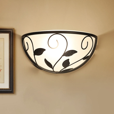 Countryside Semicircle Wall Mount Lamp 1 Head Cream Glass Surface Wall Sconce in Black