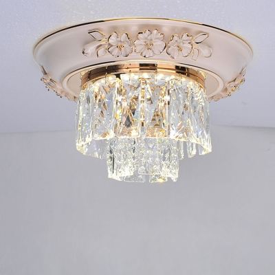 Crystal Block Tiered Ceiling Mounted Light Contemporary Blue/Beige LED Flush Light, // Wide, HL580320