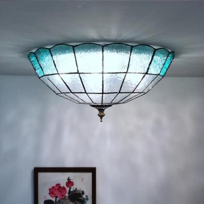 Domed Shape Flush Ceiling Light 2/3/4 Lights Blue Glass Baroque Ceiling Fixture for Living Room, 12