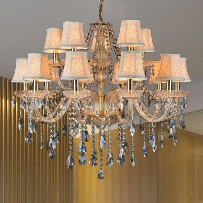 Faceted Crystal Conical Hanging Chandelier Modern 6/8/10 Lights Beige Ceiling Lamp with Clear Glass Drop