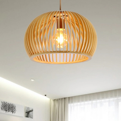 Global Hanging Lighting Asian Wood 1 Head Beige Pendant Light Fixture, 13