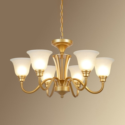 Gold Candle Hanging Chandelier Vintage Opaque Glass 3/5/6 Lights Living Room Ceiling Pendant