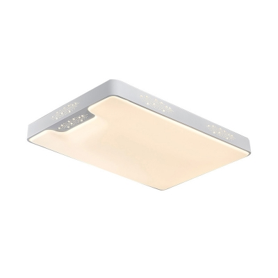 LED Flush Mount Fixture Modern White Ceiling Lamp with Rectangle/Square Acrylic Shade, 20