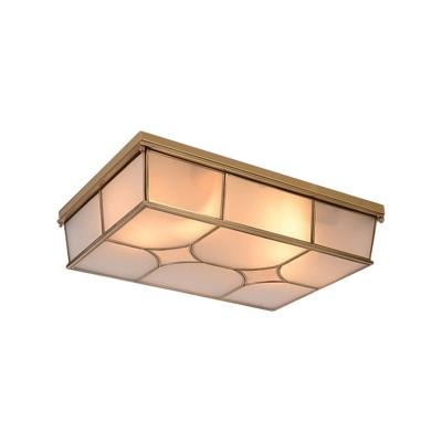 Rectangle Bedroom Flushmount Light Traditional Frosted Glass 3/6 Lights Brass Flush Mount