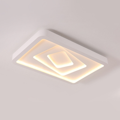 Rectangle Living Room Flushmount Lighting White Acrylic LED Contemporary Ceiling Light Fixture in Warm/3 Color Light