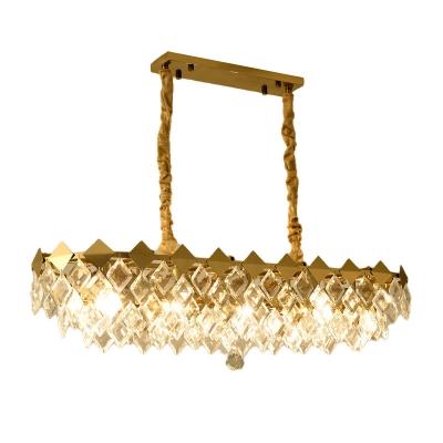 Rhombus Island Light Modernist Crystal 10 Bulbs Gold Suspended Lighting Fixture