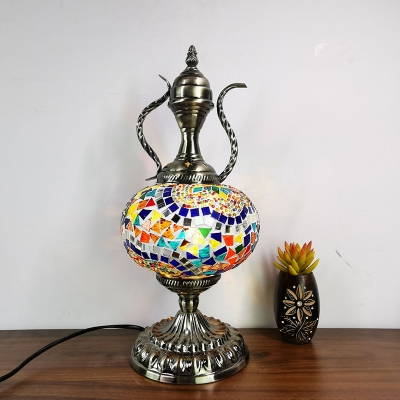 Stained Glass Bronze Table Light Ball Single Light Moroccan Night Table Lamp for Restaurant