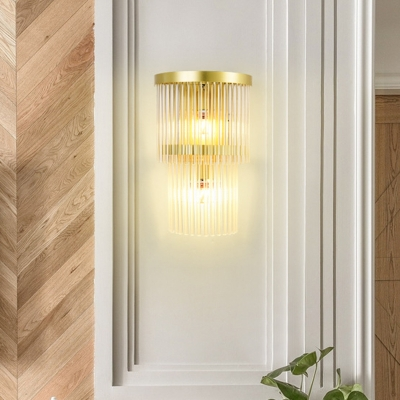 Traditionalism 2-Layer Wall Mount Lamp 2 Heads LED Crystal Wall Sconce Lighting in Gold