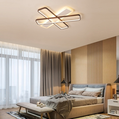 Traverse Ceiling Mounted Light Modern Acrylic Coffee LED Flush Light in Warm/White Light, 23.5