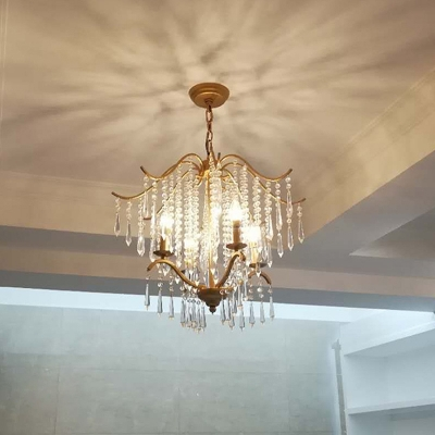 Waterfall Chandelier Lamp Modern Faceted Crystal 3/4 Heads Brass Suspended Lighting Fixture, 18.5