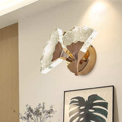 1/2 Bulbs Ginkgo Wall Sconce Lighting Traditional Gold Bubble Crystal LED Wall Light Fixture in Warm/White Light