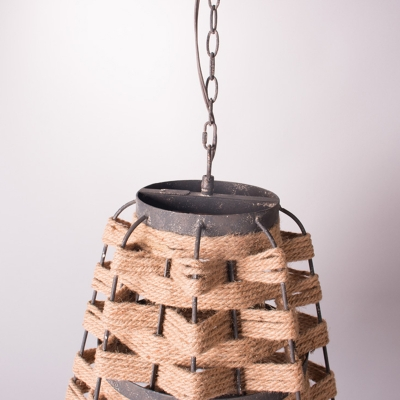 1 Bulb Flaxen Tapered Suspension Pendant Rustic Hemp Rope Woven Ceiling Lamp with Metal Frame