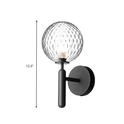 1 Bulb Orb Wall Sconce Simple Black Dimple Glass Wall Light with Metal Straight Arm for Bathroom