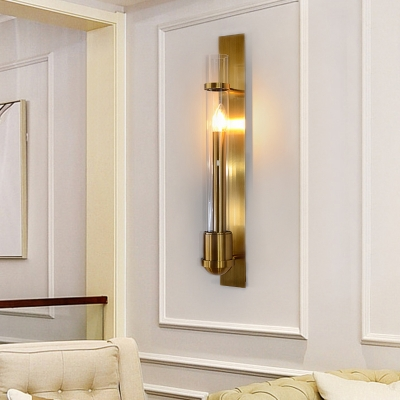 1 Head Living Room Sconce Light Modern Gold Wall Mount Lighting with Tube Clear Glass Shade
