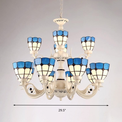 12 Heads Chandelier Pendant Light Tiffany Curved Arm Handcrafted Art Glass Hanging Ceiling Light in White