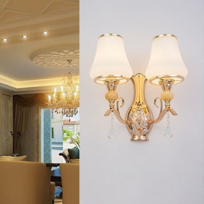 2 Bulbs Bell Wall Sconce Traditional White Metal Wall Light Fixture with Clear Crystal Drop