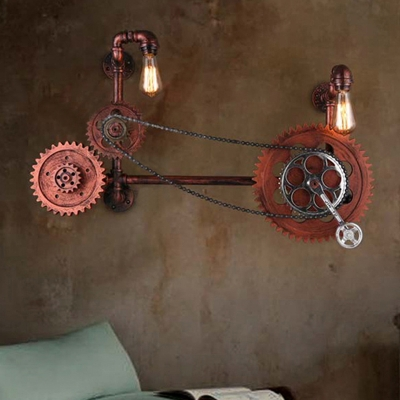 2 Lights Metal Wall Lighting Industrial Aged Copper Bare Bulb Indoor Sconce Light with Gear Design, HL575932