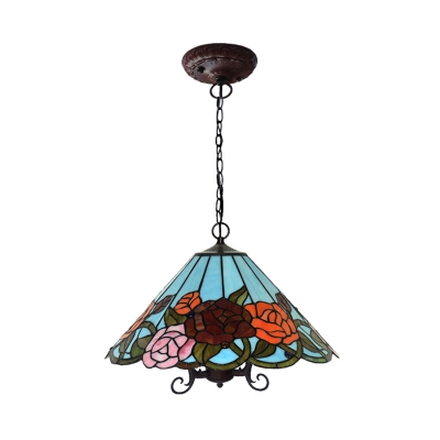 3 Lights Living Room Chandelier Light Fixture Tiffany Black Drop Pendant with Flower Red Cut Glass Shade
