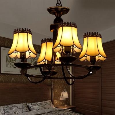 Beige Glass Black Ceiling Chandelier Tapered 4/6/8 Lights Mediterranean Suspension Pendant for Bedroom, HL581827