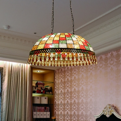 Black 2 Lights Ceiling Light Fixture Tailand Style Crystal Beaded Dome Hanging Chandelier