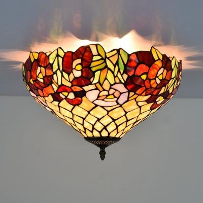 Bronze 3 Bulbs Ceiling Mount Light Fixture Victorian Hand Rolled Art Glass Floral Flush Mount Lighting