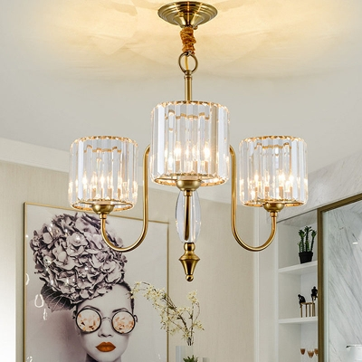 Crystal Cylinder Hanging Chandelier Modern 3/5/6 Bulbs Brass Finish Ceiling Pendant Light with Metal Curved Arm