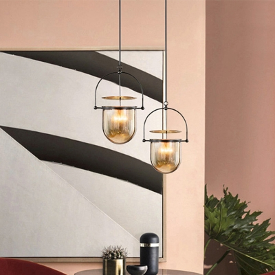 Dome Cognac Glass Pendant Lighting Countryside 1 Bulb Kitchen Island Ceiling Lamp