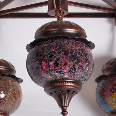Globe Living Room Ceiling Chandelier Moroccan Crackle Glass 3 Heads Antique Copper Hanging Light Fixture