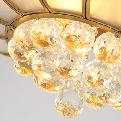 Gold Scalloped Flush Mount Lighting Traditional Cream Glass 4/6 Lights Living Room Ceiling Fixture, 21.5