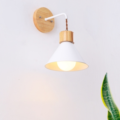 Nordic Style Cone Wall Lighting Metal and Wood 1 Light Bedroom Wall Sconce Fixture in Blue/Pink/White