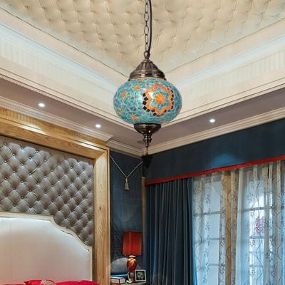 Oval Red/Green/Blue Glass Suspension Light Turkish Single Bulb Restaurant Pendant Lamp