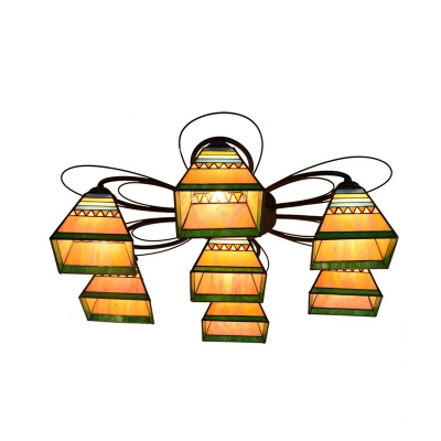 Pyramid Handcrafted Art Glass Ceiling Mounted Fixture Tiffany 3/7/9 Heads Orange Semi Flush Mount
