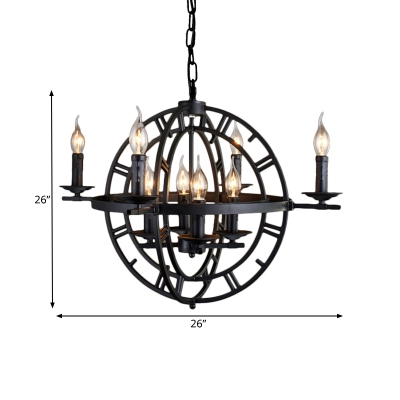 Rustic Style Orbit Chandelier Lamp Wrought Iron 8 Lights Farmhouse Pendant Light Fixture in Antique Bronze