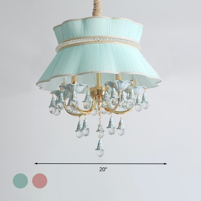Scalloped Dining Room Hanging Ceiling Light Traditional Fabric 5 Heads Blue/Pink Chandelier Light