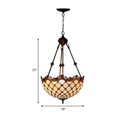 Tiffany Scalloped Chandelier Lamp 2/3 Heads White Glass Ceiling Hang Fixture for Living Room