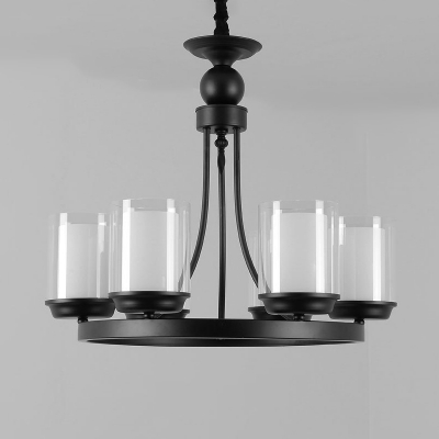 Traditional Cylindrical Chandelier Lighting Fixture 4/6/8 Heads Clear Glass Pendant Ceiling Light in Black