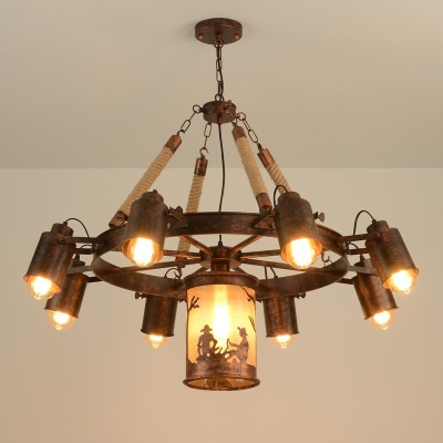 Wagon Wheel Dining Room Chandelier Lighting Fixture Warehouse Metal 7/9 Lights Rust Hanging Lamp Kit