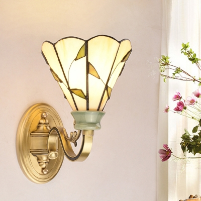 1 Light Dome/Conical/Bell Wall Mount Lamp Tiffany Stylish Gold/Orange/Yellow Cut Glass Sconce for Living Room HL581488 фото