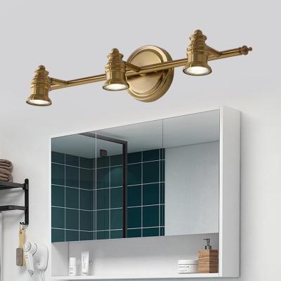 2/3/4-Bulb LED Metal Vanity Light Fixture Traditionalist Brass Linear Bathroom Wall Lamp