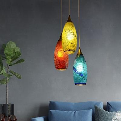 3 Lights Multi Light Pendant Bohemia Teardrop Red-Yellow-Blue Glass Suspension Lamp for Living Room
