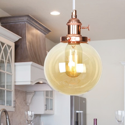 Amber/Clear Glass Global Hanging Ceiling Light Industrial Style 1 Bulb Black/Bronze/Brass Pendant Lamp with Adjustable Cord, Clear;amber, HL572376