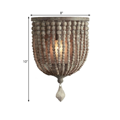 Beaded Wood Wall Mounted Light Fixture Classic Stylish 1 Light Bedroom Sconce in Grey