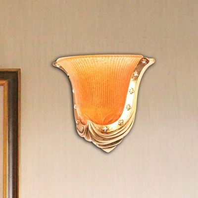 Bell Shade Bedroom Flush Wall Sconce Traditional Style Orange Glass 1 Light Wall Mounted Lighting