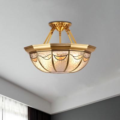 Bowl Metal Semi Flush Vintage 4-Light Living Room Semi Flush Mount Ceiling Light in Brass