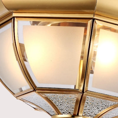 Brass 3/4 Heads Flush Mount Lamp Traditional Sandblasted Glass Bowl Ceiling Fixture for Living Room, 14