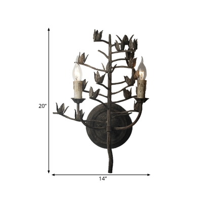 Candle-Like Metal Wall Mounted Lamp Traditional 2 Lights Bedroom Sconce Light Fixture in Dark Gray